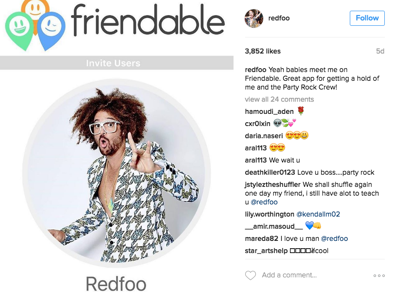 Redfoo Instagram Friendable