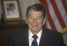 President Ronald Reagan speaks to the American people to announce that the U.S. military has launched air strikes against the African country of Libya.